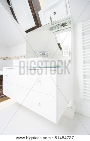 Washbowl In White Modern Bathroom