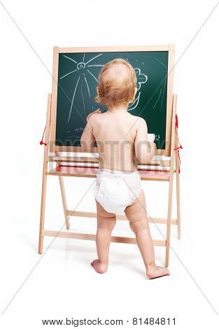 Baby boy drawing on chalkboard over white