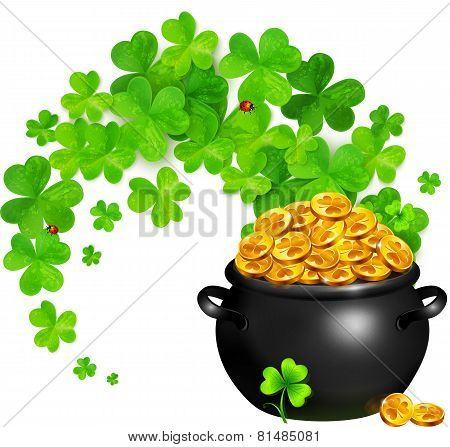 Vector pot of magic gold with clovers swirl