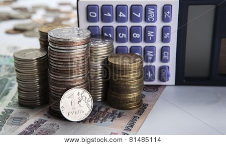 Stacks Of Russian Rubles With Calculator
