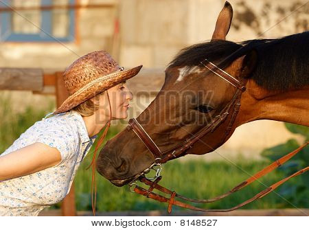 Woman And Brown Horse