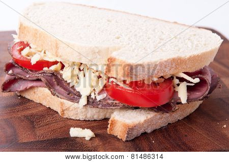 Sliced Roast Beef Sandwich, Cheese And Tomato And Cole Slaw