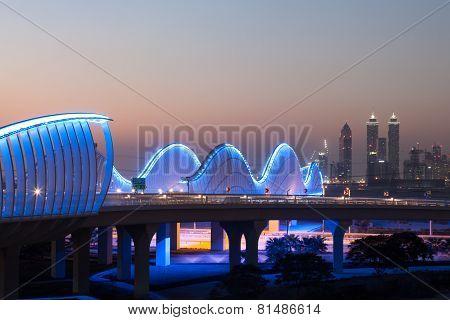 Dubai Meydan Bridge At Night