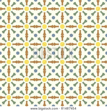 Brown And Green Retro Bone And Circle Pattern On Pastel Color