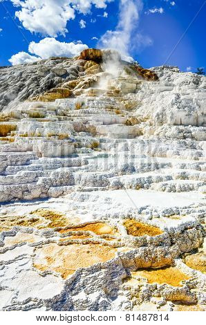 Detail View Of Beautiful Geothermal Land In Yellowstone Np