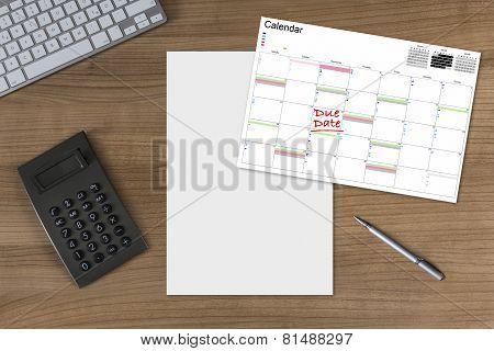Calendar Due Date Blank Sheet And Calculator On Wooden Table