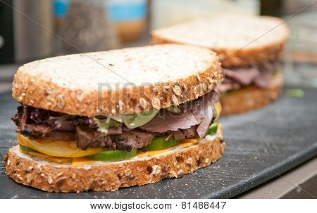 Roast Beef Deli Style Sandwich On Cracked Whole Wheat Bread