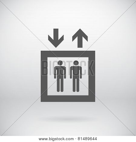 Flat Elevator Sign Vector People Lift Symbol Background