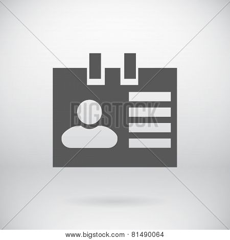 Flat ID Sign Vector Document Badge Symbol Background