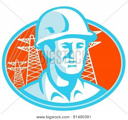 Construction Worker Engineer Pylons Retro