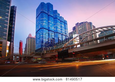 Beautiful Lighting Dusky Sky Of Important Bangkok Modern Building Landmark