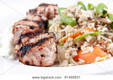 Homemade Tzatziki With Grilled Lamb Kabobs, Rice And Vegetables. This Is A Heart Healthy Meal.