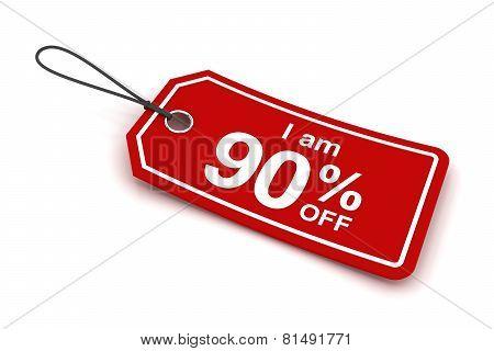 I am 90 percent off sale tag, 3d render