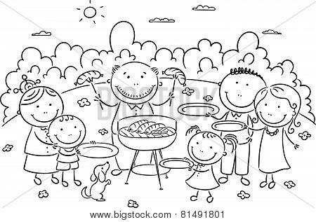 Famile having picnic outdoors