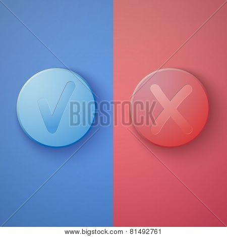 Web Infographic OK Cancel Yes No Colorful Buttons Layout with De