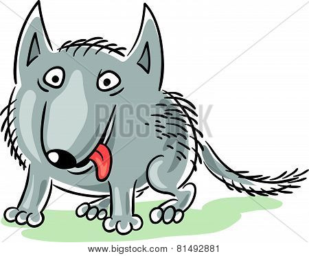 Funny cartoon wolf or dog