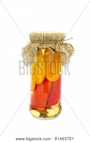 Slices Potted Preserved Peppers In Glass Jar Isolated