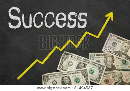Text on a blackboard with money - Success