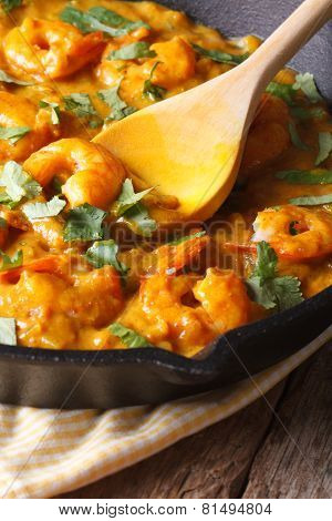 Prawns In Curry Sauce In A Frying Pan Macro. Vertical, Rustic