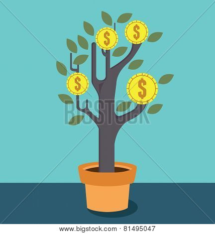 Business Optimization. Tree With Money