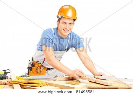 Carpenter working with wooden planks isolated on white background