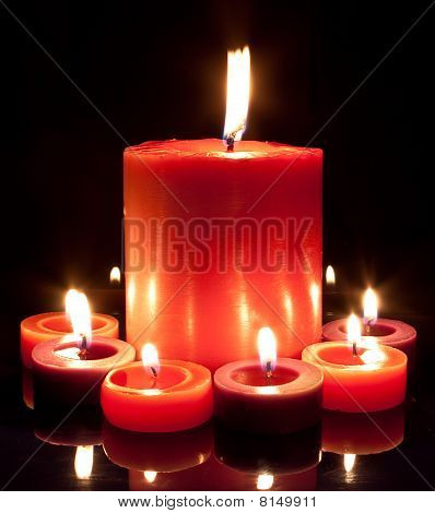 Red Candles - Large And Small