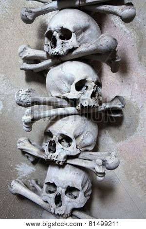 Decoration made of human bones and skulls in the Sedlec Ossuary near Kutna Hora, Czech Republic.