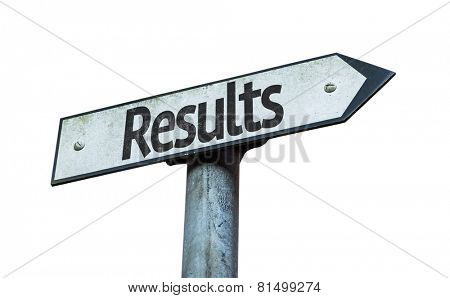 Results sign isolated on white background