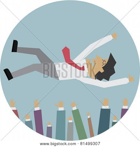 Illustration of Successful businessman in the air being throwing up by his colleague
