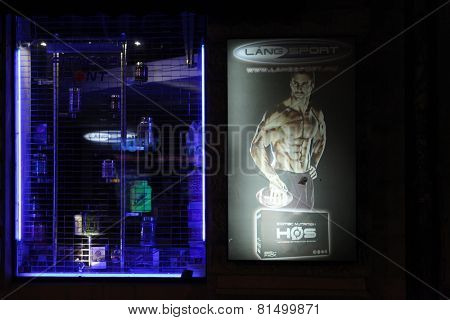 BUDAPEST, HINGARY - NOVEMBER 1, 2013: Shop window decorated with an advertisement for bodybuilding supplement in Budapest, Hungary.