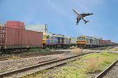 stock photo of dock  - Freight trains in dock with airplane for logistics background - JPG