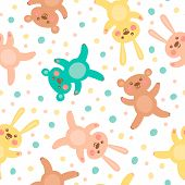 stock photo of cute bears  - Kids seamless pattern with cute bears and hares - JPG