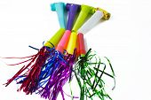 picture of blowers  - Party Blower of different colors on white background - JPG