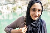 pic of middle eastern culture  - Arabic Muslim Middle Eastern girl on the river - JPG