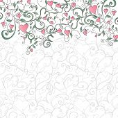 stock photo of valentine card  - Background with hearts and floral ornament - JPG