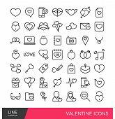 stock photo of broken heart flower  - Valentine days icon elements in outline stroke - JPG