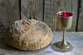 pic of communion-cup  - Bread and wine holy communion sign symbol concept - JPG