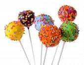 pic of cake pop  - Sweet cake pops isolated on white - JPG