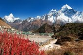 picture of nepali  - view of Khumjung village and beautiful himalayas near Namche bazar Ama Dablam kangtega and Thamserku  - JPG