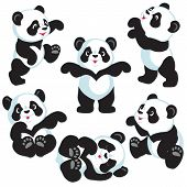 picture of panda  - set with cartoon panda bear - JPG