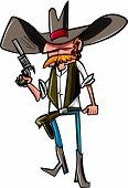foto of gunslinger  - Cartoon cowboy with a gun belt - JPG