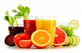 image of fruit-juice  - Glasses with fresh organic vegetable and fruit juices isolated on white - JPG
