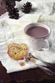 picture of french pastry  - Winter mood: a cup of hot chocolate and French pastry on knitted scarf - JPG