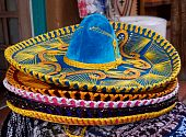 picture of mexican fiesta  - Horizontal closeup photo of details of Mexican sombrero hat