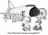 foto of amusement park rides  - Cartoon of businesswoman asking if she can borrow the amusement park ride to go on vacation - JPG