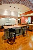 stock photo of opulence  - expensive tuscan style kitchen remodel - JPG