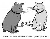 stock photo of prissy  - Cartoon of two cats discussing a possible business deal - JPG