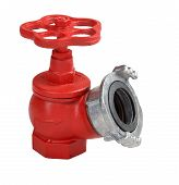 picture of oblique  - Red iron valve oblique fire hydrant with aluminum coupling for quick connection of a fire hose Isolated on white background saved path contour selection - JPG