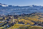 foto of hamlet  - Countryside mountain landscape with Romanian hamlet uphill on a sunny morning in Pestera Brasov county Romania - JPG