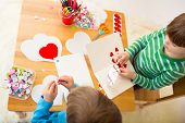 foto of arts crafts  - Kids children doing Valentine - JPG